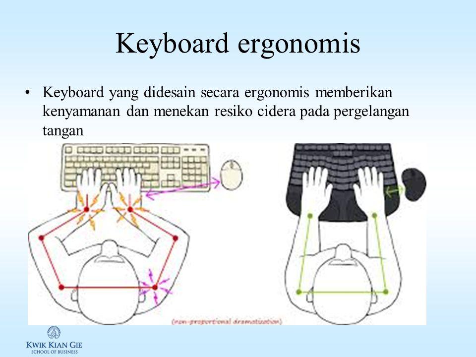 Keyboard Keyboard adalah sebuah alat yang mengubah huruf, angka maupun karakter lain menjadi sinyal elektrik sehingga dapat dibaca oleh prosesor kompu