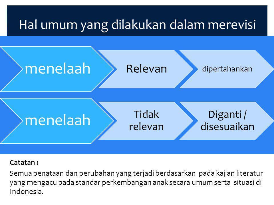 Hal umum yang dilakukan dalam merevisi Catatan : Semua penataan dan perubahan yang terjadi berdasarkan pada kajian literatur yang mengacu pada standar perkembangan anak secara umum serta situasi di Indonesia.