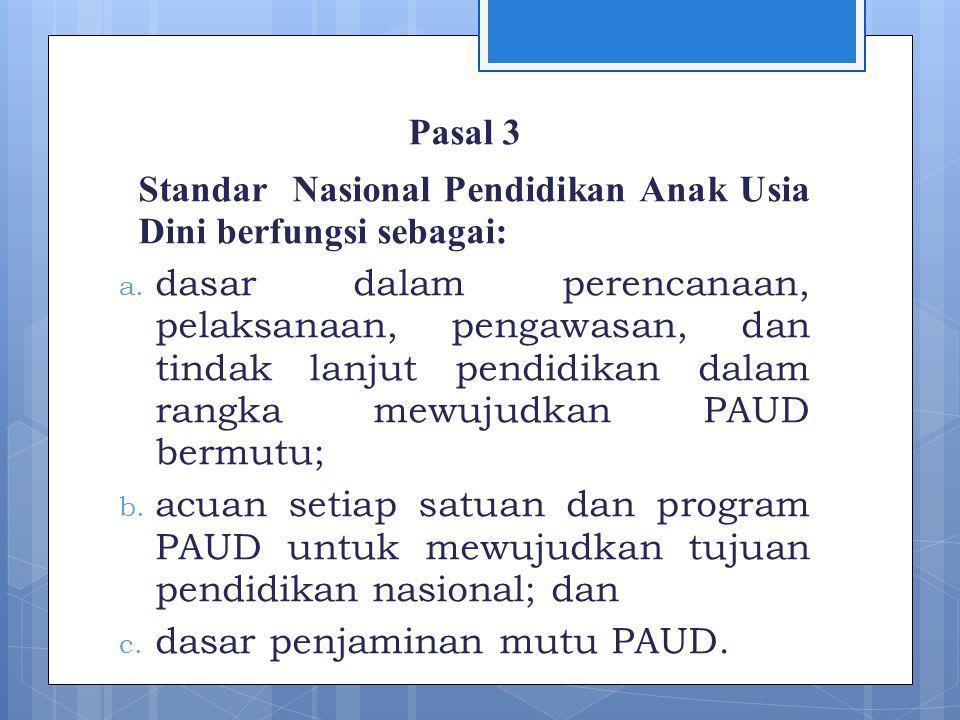 Pasal 3 Standar Nasional Pendidikan Anak Usia Dini berfungsi sebagai: a.