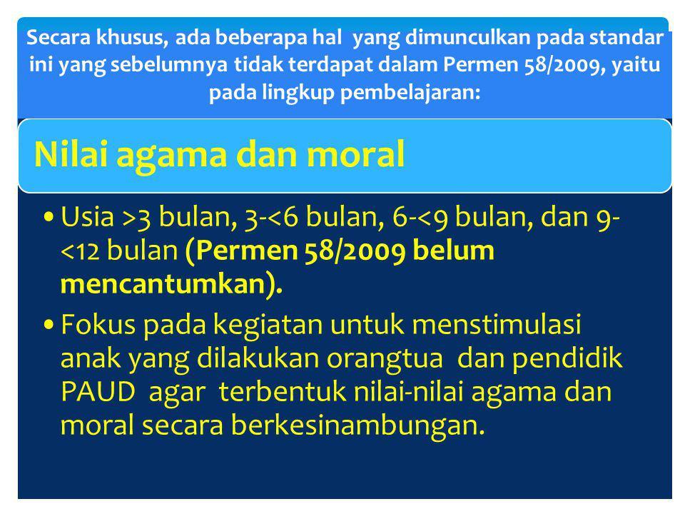 Nilai agama dan moral Usia >3 bulan, 3-<6 bulan, 6-<9 bulan, dan 9-<12 bulan (Permen 58/2009 belum mencantumkan).