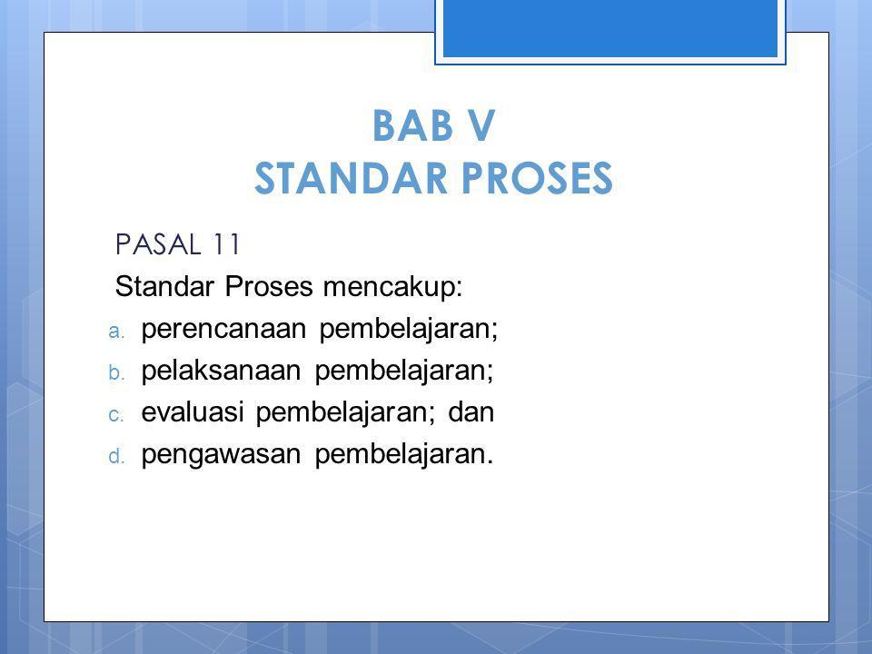 BAB V STANDAR PROSES PASAL 11 Standar Proses mencakup: a.