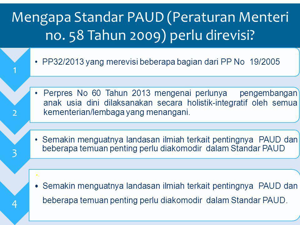 Mengapa Standar PAUD (Peraturan Menteri no.58 Tahun 2009) perlu direvisi.
