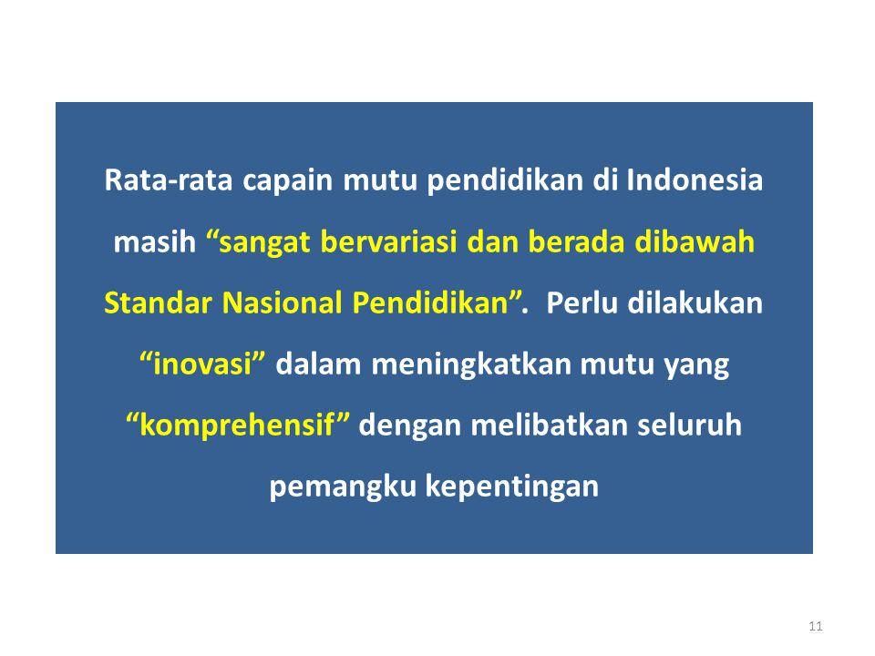 """Rata-rata capain mutu pendidikan di Indonesia masih """"sangat bervariasi dan berada dibawah Standar Nasional Pendidikan"""". Perlu dilakukan """"inovasi"""" dala"""