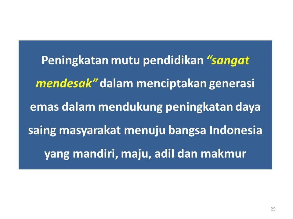 """Peningkatan mutu pendidikan """"sangat mendesak"""" dalam menciptakan generasi emas dalam mendukung peningkatan daya saing masyarakat menuju bangsa Indonesi"""