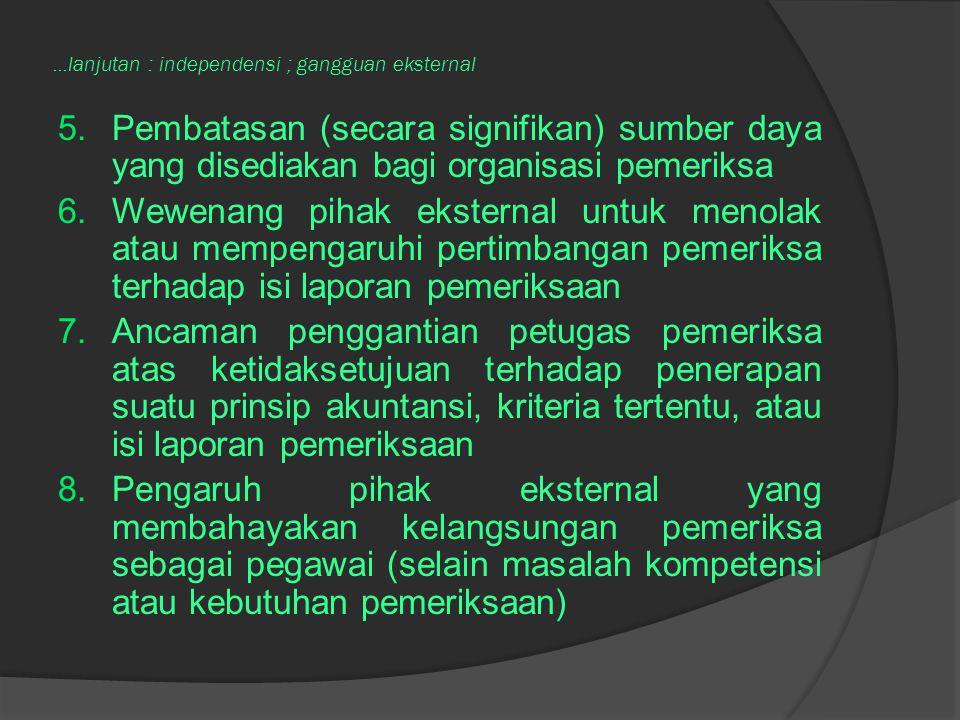 ...lanjutan : independensi ; gangguan eksternal 5.Pembatasan (secara signifikan) sumber daya yang disediakan bagi organisasi pemeriksa 6.Wewenang piha
