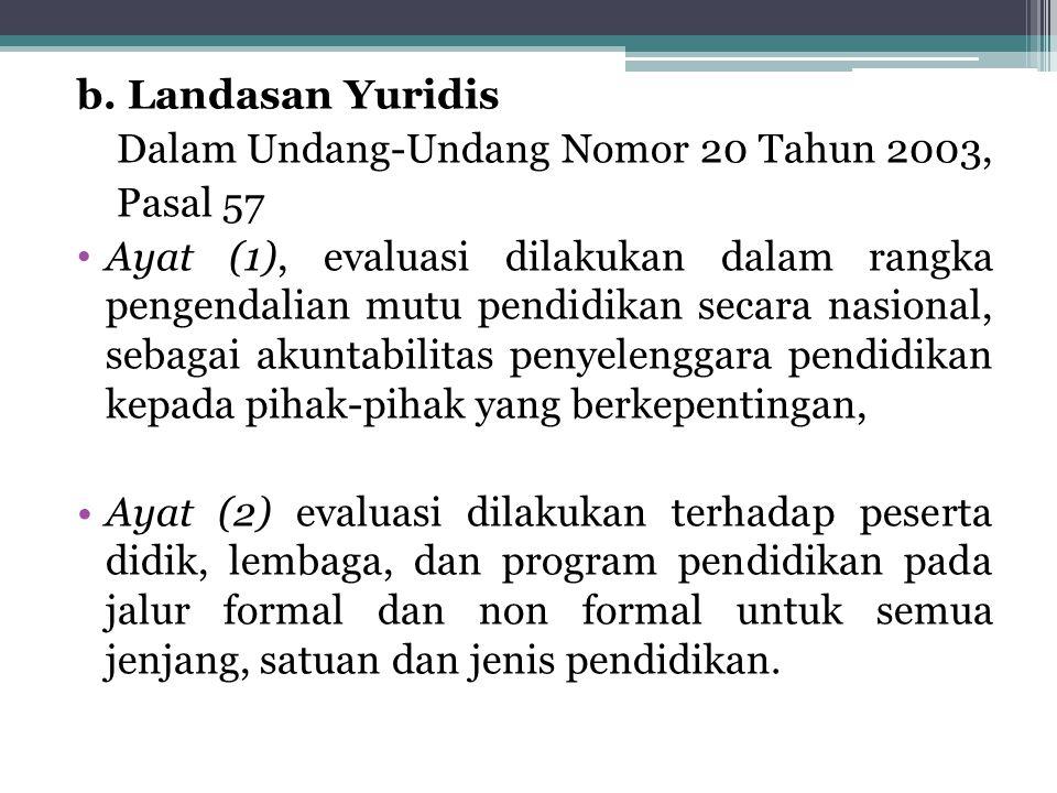 b. Landasan Yuridis Dalam Undang-Undang Nomor 20 Tahun 2003, Pasal 57 Ayat (1), evaluasi dilakukan dalam rangka pengendalian mutu pendidikan secara na