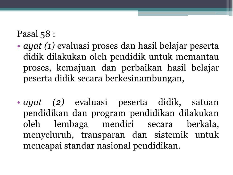 Pasal 58 : ayat (1) evaluasi proses dan hasil belajar peserta didik dilakukan oleh pendidik untuk memantau proses, kemajuan dan perbaikan hasil belaja