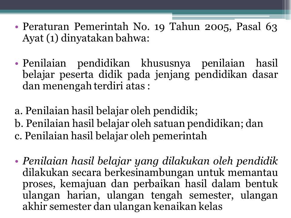 Peraturan Pemerintah No. 19 Tahun 2005, Pasal 63 Ayat (1) dinyatakan bahwa: Penilaian pendidikan khususnya penilaian hasil belajar peserta didik pada