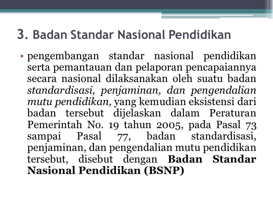 3. Badan Standar Nasional Pendidikan pengembangan standar nasional pendidikan serta pemantauan dan pelaporan pencapaiannya secara nasional dilaksanaka