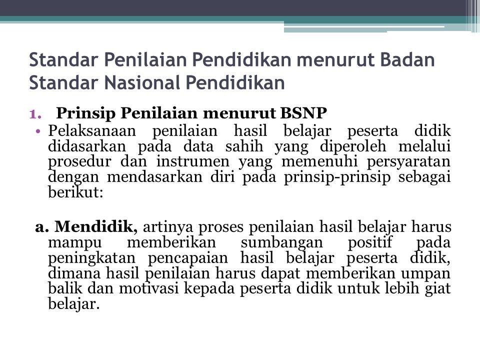 Standar Penilaian Pendidikan menurut Badan Standar Nasional Pendidikan 1.Prinsip Penilaian menurut BSNP Pelaksanaan penilaian hasil belajar peserta di