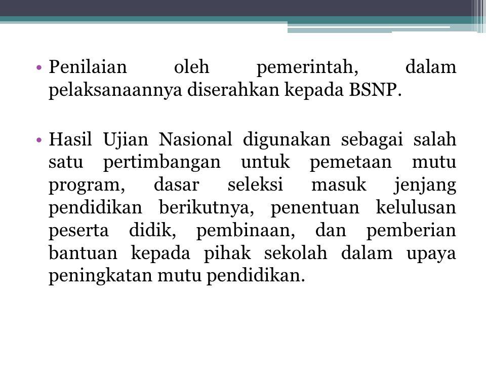 Standar penilaian merupakan salah satu bagian dari Standar Nasional Pendidikan tentang sistem pendidikan di seluruh wilayah hukum Negara Kesatuan Republik Indonesia.