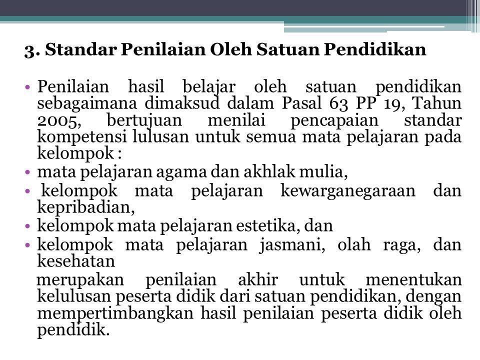 3. Standar Penilaian Oleh Satuan Pendidikan Penilaian hasil belajar oleh satuan pendidikan sebagaimana dimaksud dalam Pasal 63 PP 19, Tahun 2005, bert