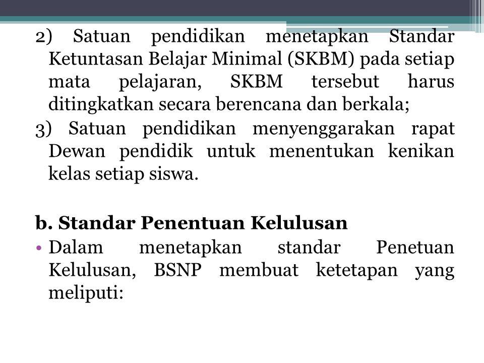 2) Satuan pendidikan menetapkan Standar Ketuntasan Belajar Minimal (SKBM) pada setiap mata pelajaran, SKBM tersebut harus ditingkatkan secara berencan
