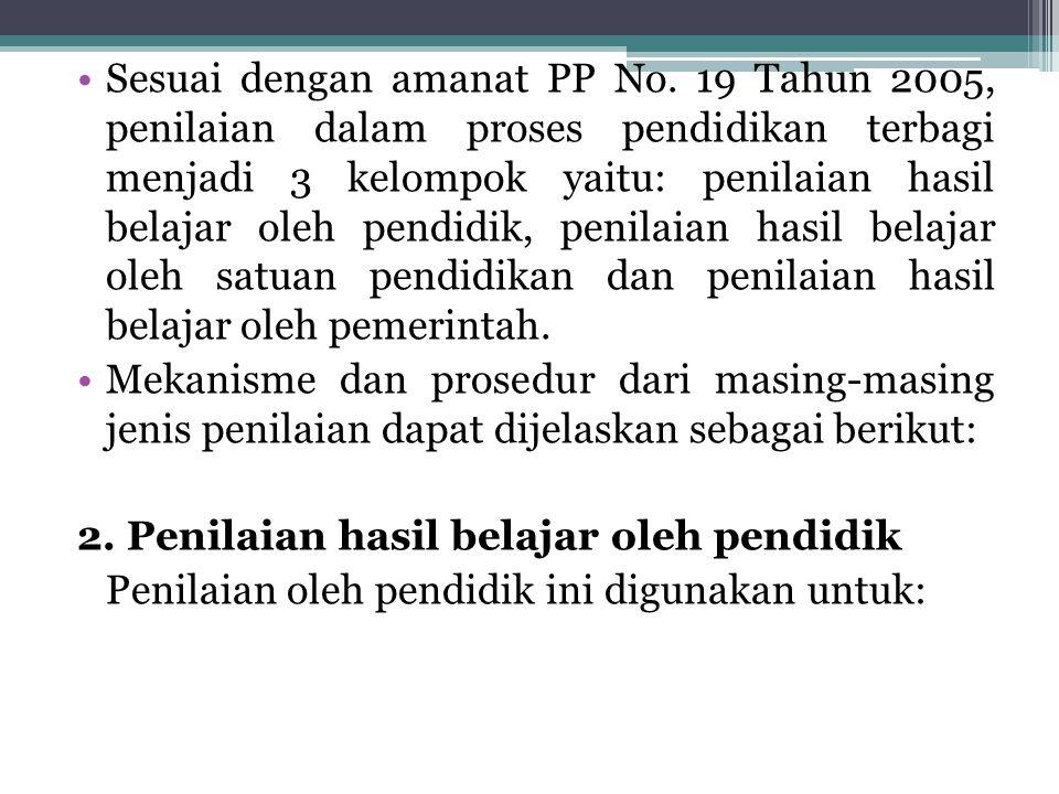 Sesuai dengan amanat PP No. 19 Tahun 2005, penilaian dalam proses pendidikan terbagi menjadi 3 kelompok yaitu: penilaian hasil belajar oleh pendidik,