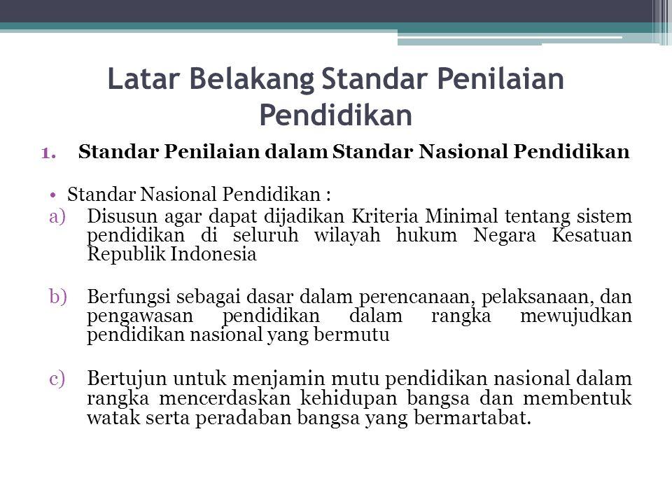 Latar Belakang Standar Penilaian Pendidikan 1.Standar Penilaian dalam Standar Nasional Pendidikan Standar Nasional Pendidikan : a)Disusun agar dapat d