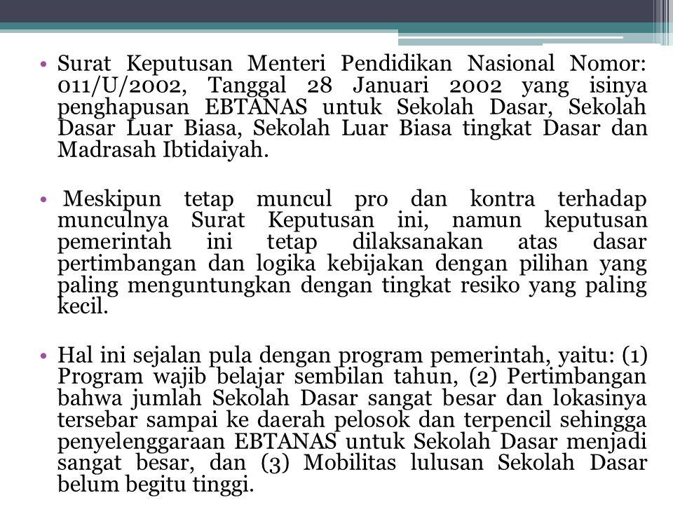 Surat Keputusan Menteri Pendidikan Nasional Nomor: 011/U/2002, Tanggal 28 Januari 2002 yang isinya penghapusan EBTANAS untuk Sekolah Dasar, Sekolah Da