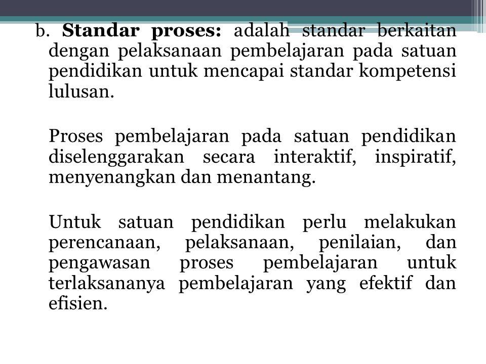 b. Standar proses: adalah standar berkaitan dengan pelaksanaan pembelajaran pada satuan pendidikan untuk mencapai standar kompetensi lulusan. Proses p