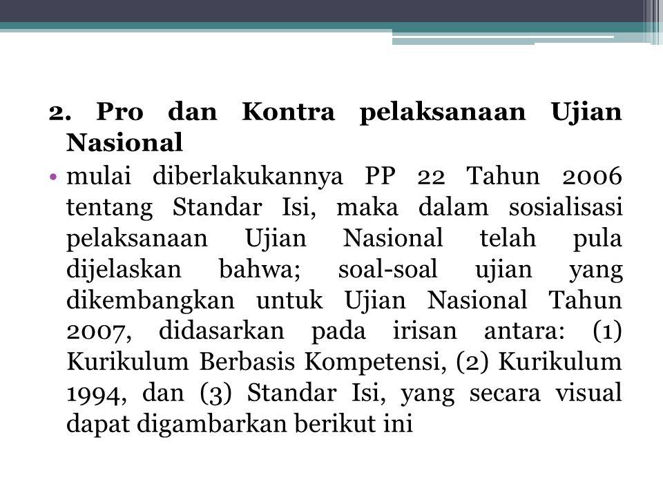 2. Pro dan Kontra pelaksanaan Ujian Nasional mulai diberlakukannya PP 22 Tahun 2006 tentang Standar Isi, maka dalam sosialisasi pelaksanaan Ujian Nasi