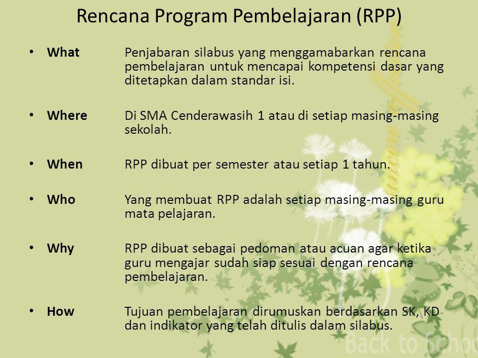 Rencana Program Pembelajaran (RPP) WhatPenjabaran silabus yang menggamabarkan rencana pembelajaran untuk mencapai kompetensi dasar yang ditetapkan dalam standar isi.