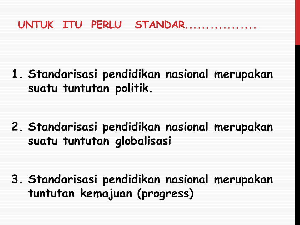 UNTUK ITU PERLU STANDAR................. 1.Standarisasi pendidikan nasional merupakan suatu tuntutan politik. 2.Standarisasi pendidikan nasional merup