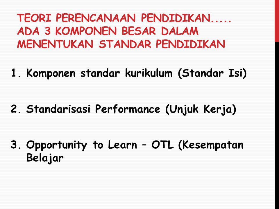 TEORI PERENCANAAN PENDIDIKAN..... ADA 3 KOMPONEN BESAR DALAM MENENTUKAN STANDAR PENDIDIKAN 1.Komponen standar kurikulum (Standar Isi) 2.Standarisasi P