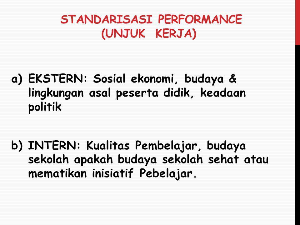 STANDARISASI PERFORMANCE (UNJUK KERJA) a)EKSTERN: Sosial ekonomi, budaya & lingkungan asal peserta didik, keadaan politik b)INTERN: Kualitas Pembelaja