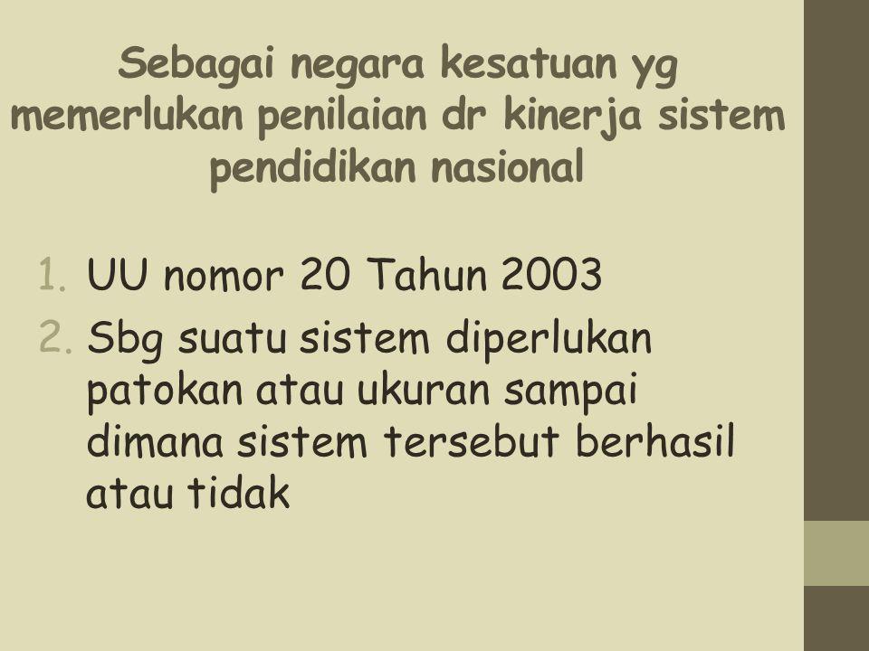 Sebagai negara kesatuan yg memerlukan penilaian dr kinerja sistem pendidikan nasional 1.UU nomor 20 Tahun 2003 2.Sbg suatu sistem diperlukan patokan a