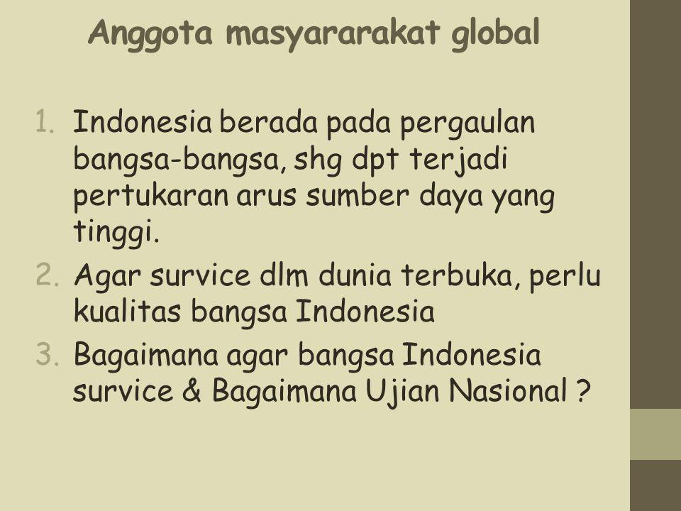 Anggota masyararakat global 1.Indonesia berada pada pergaulan bangsa-bangsa, shg dpt terjadi pertukaran arus sumber daya yang tinggi. 2.Agar survice d
