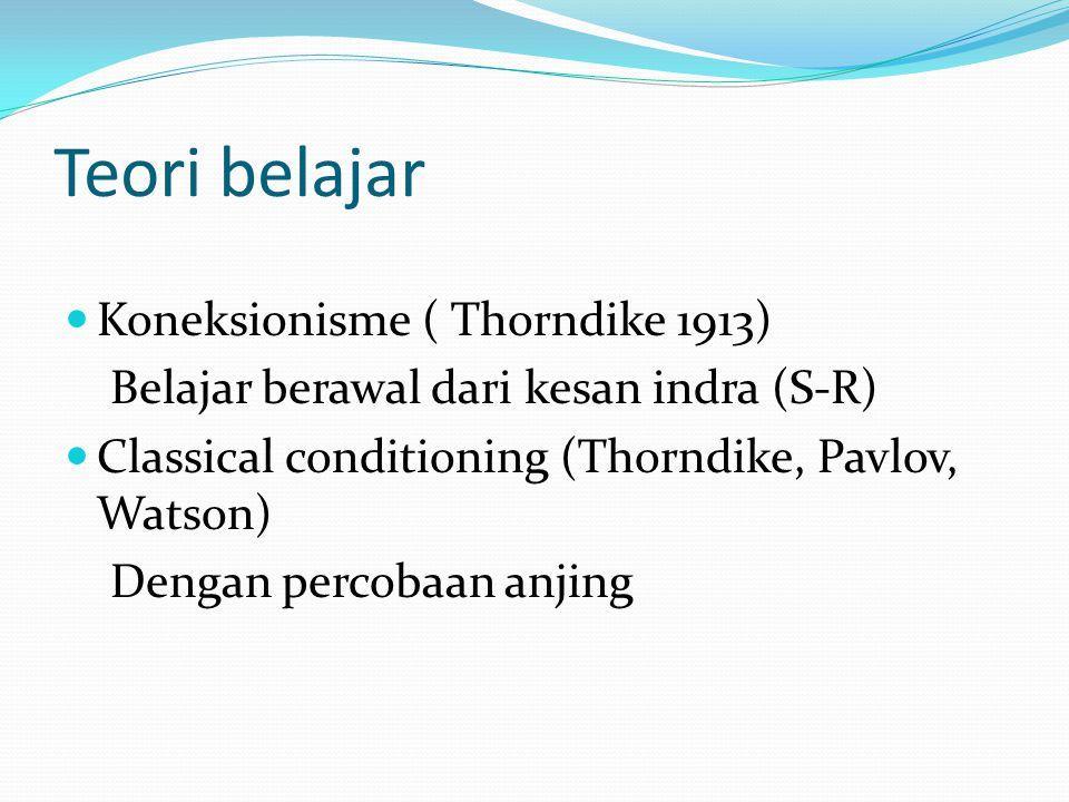 Teori belajar Koneksionisme ( Thorndike 1913) Belajar berawal dari kesan indra (S-R) Classical conditioning (Thorndike, Pavlov, Watson) Dengan percobaan anjing