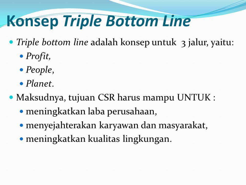 Konsep Triple Bottom Line Triple bottom line adalah konsep untuk 3 jalur, yaitu: Profit, People, Planet.