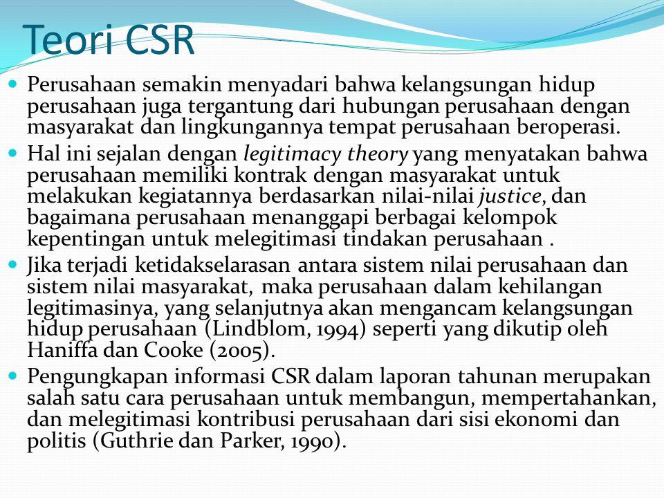 Teori CSR Perusahaan semakin menyadari bahwa kelangsungan hidup perusahaan juga tergantung dari hubungan perusahaan dengan masyarakat dan lingkungannya tempat perusahaan beroperasi.