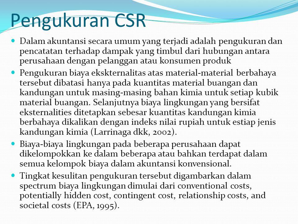 Penilaian CSR Penilaian dibuat dalam neraca dan laporan rugi laba yang standar.