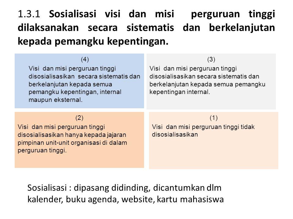 1.3.1 Sosialisasi visi dan misi perguruan tinggi dilaksanakan secara sistematis dan berkelanjutan kepada pemangku kepentingan. (4) Visi dan misi pergu