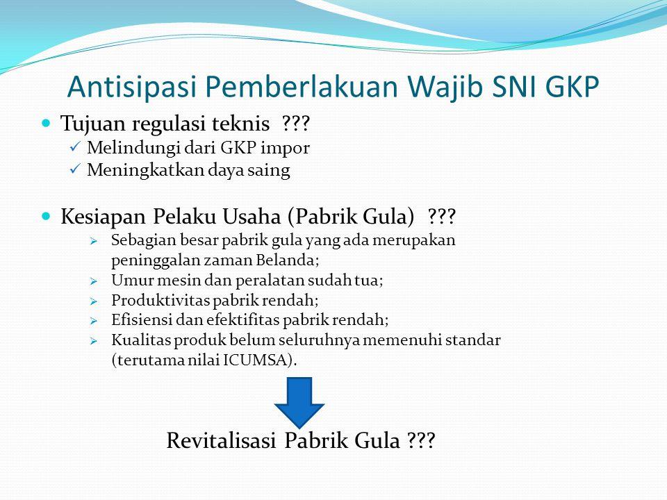 Antisipasi Pemberlakuan Wajib SNI GKP Tujuan regulasi teknis ??? Melindungi dari GKP impor Meningkatkan daya saing Kesiapan Pelaku Usaha (Pabrik Gula)