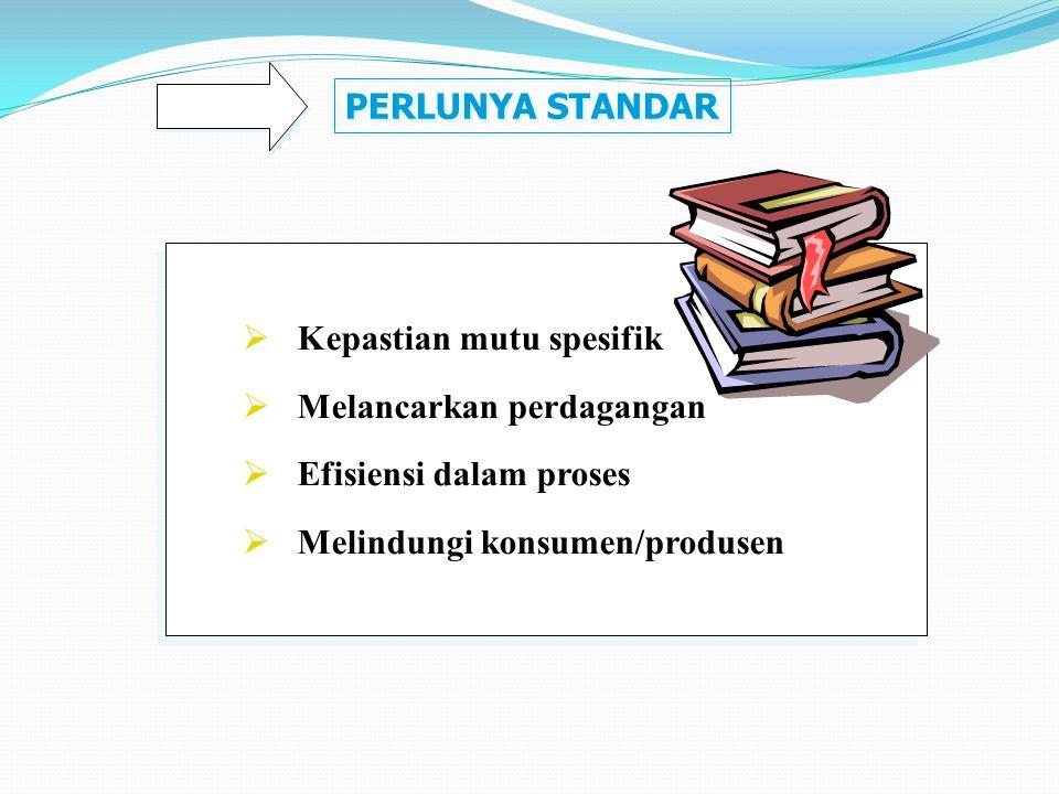PERLUNYA STANDAR  Kepastian mutu spesifik  Melancarkan perdagangan  Efisiensi dalam proses  Melindungi konsumen/produsen  Kepastian mutu spesifik