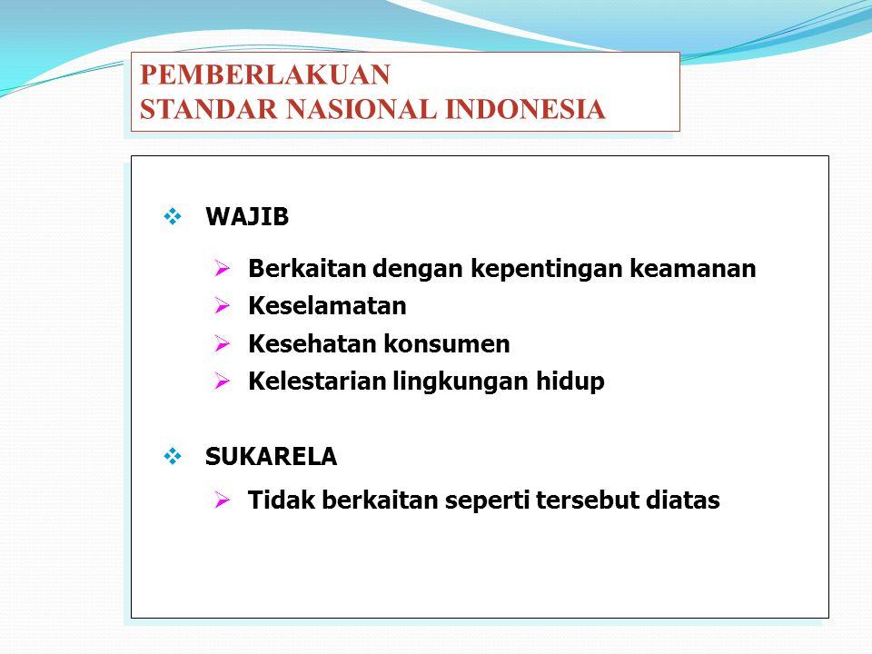  Berkaitan dengan kepentingan keamanan  Keselamatan  Kesehatan konsumen  Kelestarian lingkungan hidup PEMBERLAKUAN STANDAR NASIONAL INDONESIA PEMB