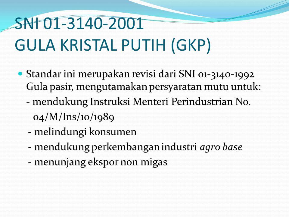 SNI 01-3140-2001 GULA KRISTAL PUTIH (GKP) Standar ini merupakan revisi dari SNI 01-3140-1992 Gula pasir, mengutamakan persyaratan mutu untuk: - menduk