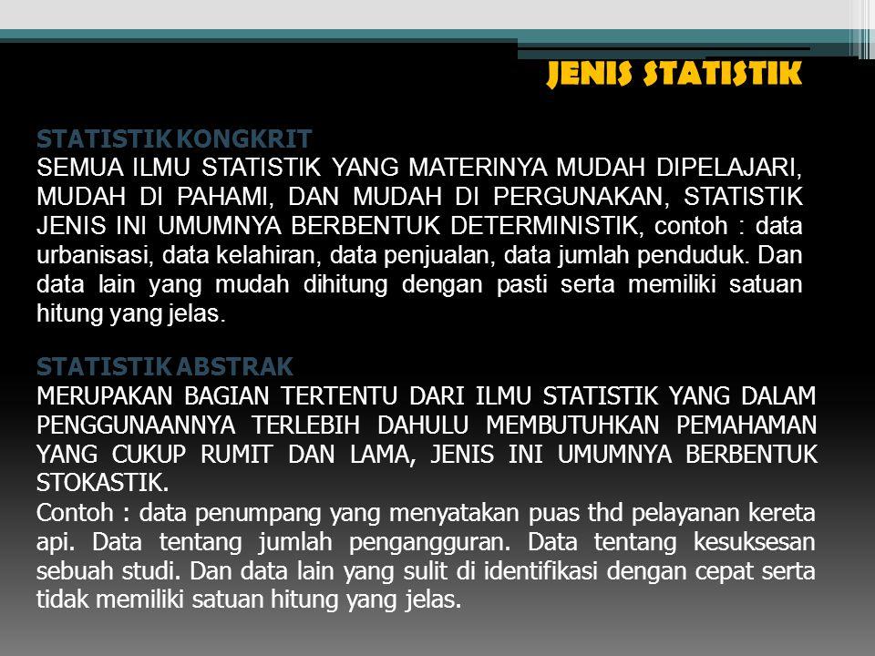 JENIS STATISTIK STATISTIK KONGKRIT SEMUA ILMU STATISTIK YANG MATERINYA MUDAH DIPELAJARI, MUDAH DI PAHAMI, DAN MUDAH DI PERGUNAKAN, STATISTIK JENIS INI UMUMNYA BERBENTUK DETERMINISTIK, contoh : data urbanisasi, data kelahiran, data penjualan, data jumlah penduduk.