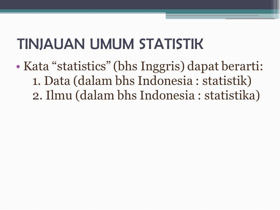 """TINJAUAN UMUM STATISTIK Kata """"statistics"""" (bhs Inggris) dapat berarti: 1. Data (dalam bhs Indonesia : statistik) 2. Ilmu (dalam bhs Indonesia : statis"""