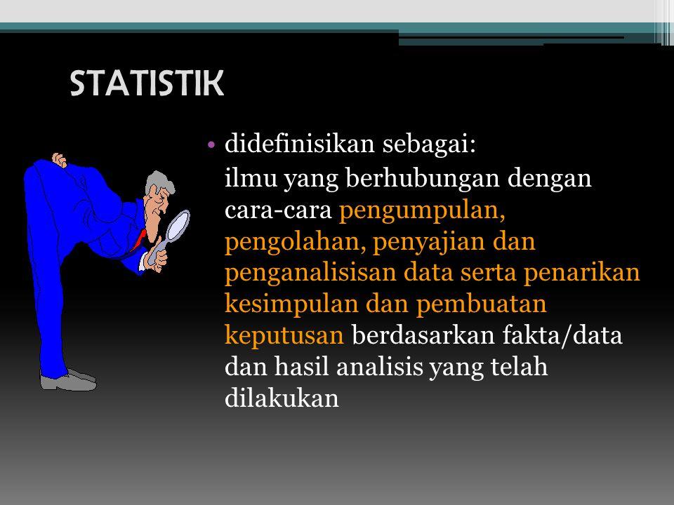 didefinisikan sebagai: ilmu yang berhubungan dengan cara-cara pengumpulan, pengolahan, penyajian dan penganalisisan data serta penarikan kesimpulan dan pembuatan keputusan berdasarkan fakta/data dan hasil analisis yang telah dilakukan STATISTIK