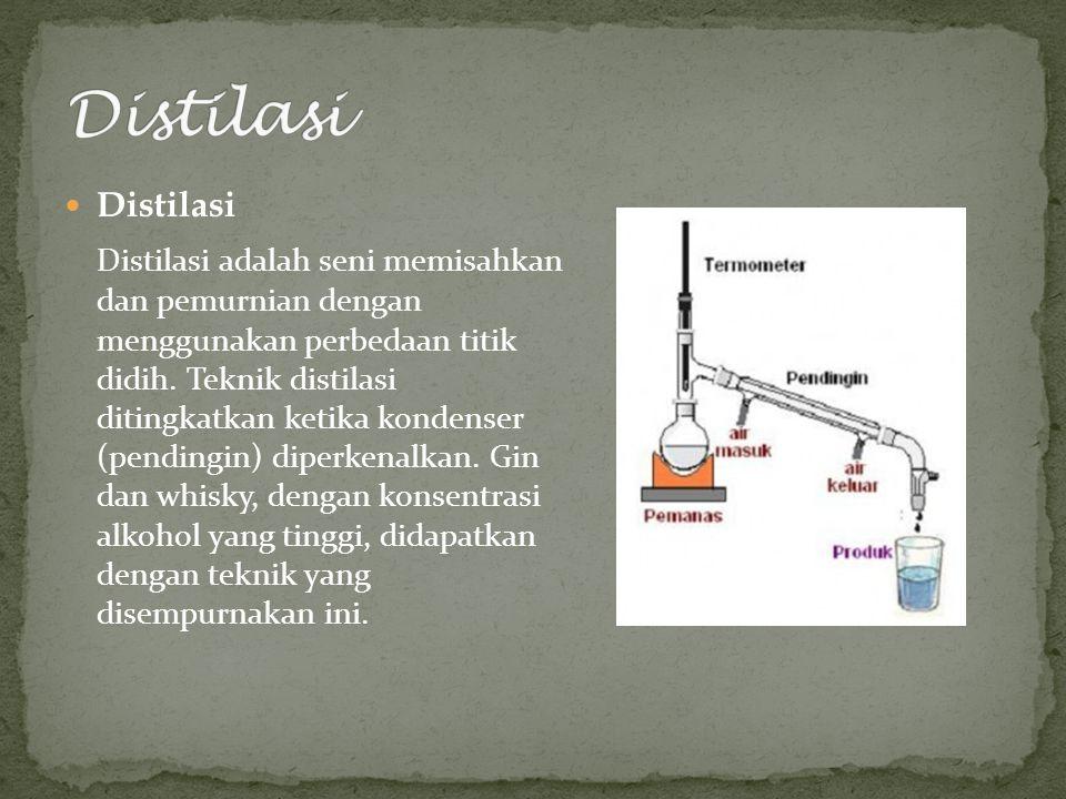 Distilasi Distilasi adalah seni memisahkan dan pemurnian dengan menggunakan perbedaan titik didih.