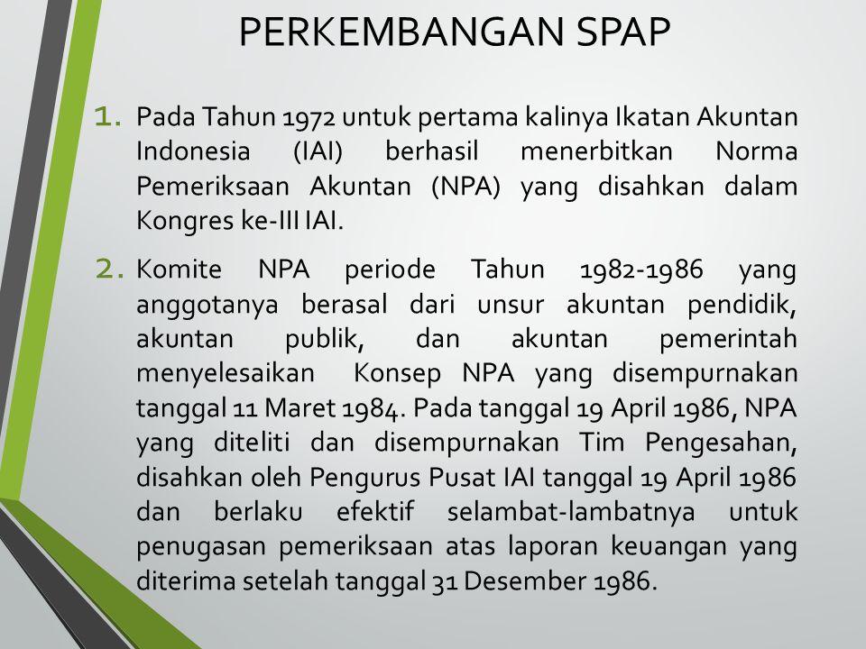 PERKEMBANGAN SPAP (LANJUTAN) 3.Pada Tahun 1992, IAI menerbitkan NPA Edisi Revisi.