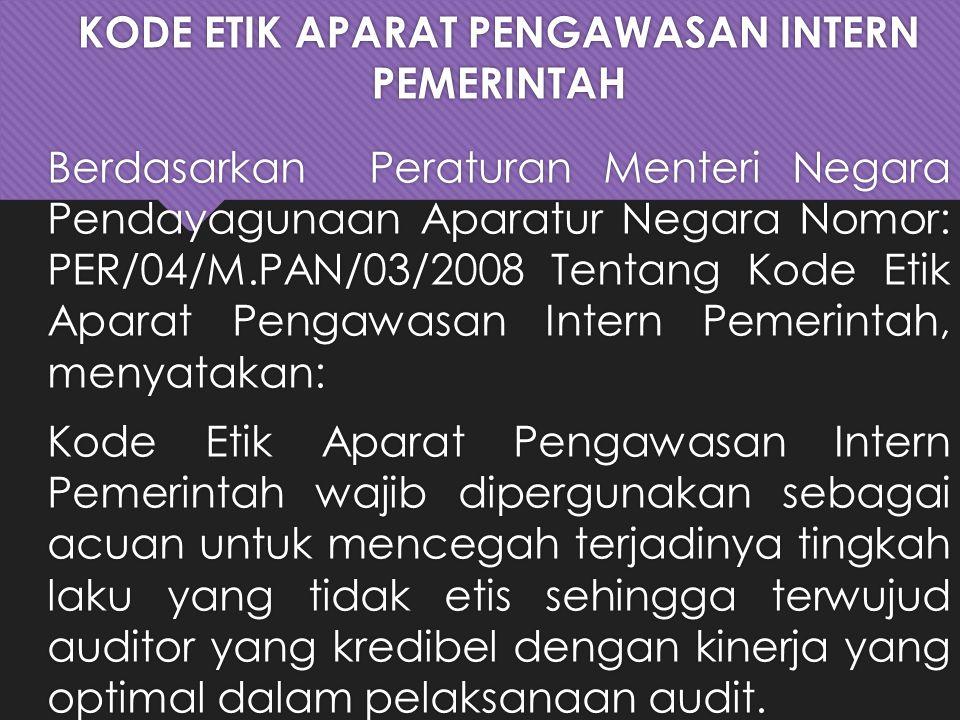 KODE ETIK APARAT PENGAWASAN INTERN PEMERINTAH Berdasarkan Peraturan Menteri Negara Pendayagunaan Aparatur Negara Nomor: PER/04/M.PAN/03/2008 Tentang Kode Etik Aparat Pengawasan Intern Pemerintah, menyatakan: Kode Etik Aparat Pengawasan Intern Pemerintah wajib dipergunakan sebagai acuan untuk mencegah terjadinya tingkah laku yang tidak etis sehingga terwujud auditor yang kredibel dengan kinerja yang optimal dalam pelaksanaan audit.