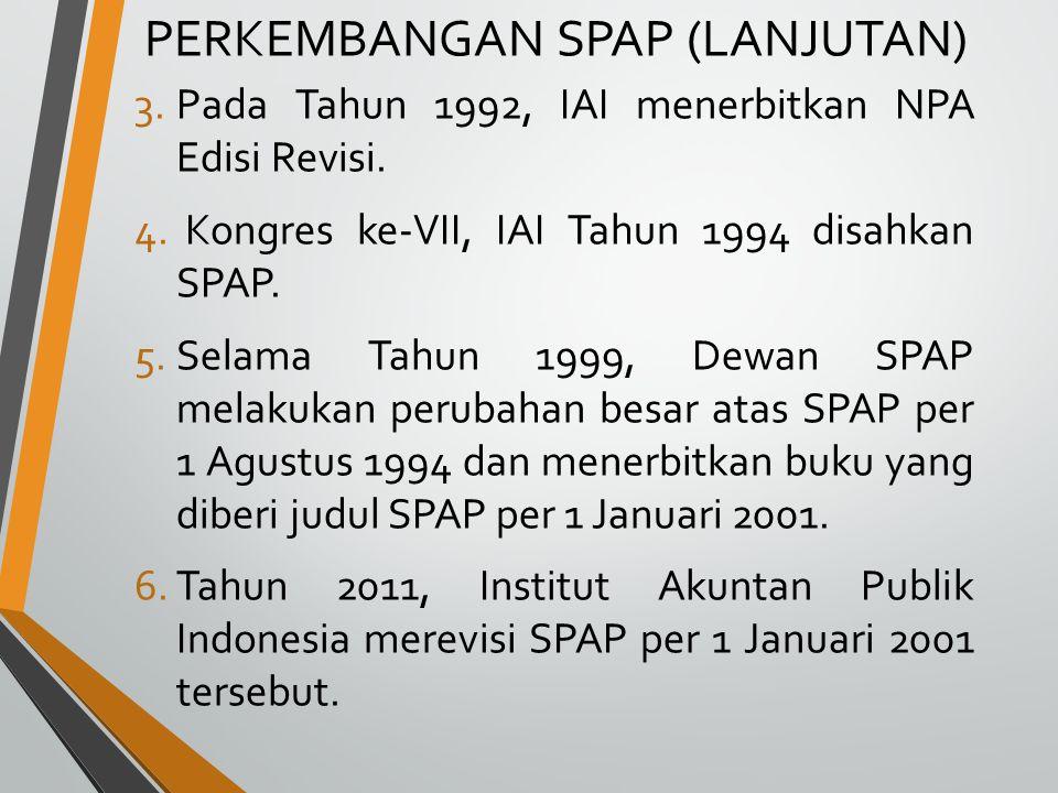 Standar Pemeriksaan Keuangan Negara (SPKN) Tidak ada standar audit publik yang berlaku secara keseluruhan, tetapi praktik yang selama ini berlangsung setiap lembaga auditor menerapkan standar auditnya masing-masing dengan menggunakan standar audit yang ditetapkan Ikatan Akuntan Indonesia sebagai pedoman.