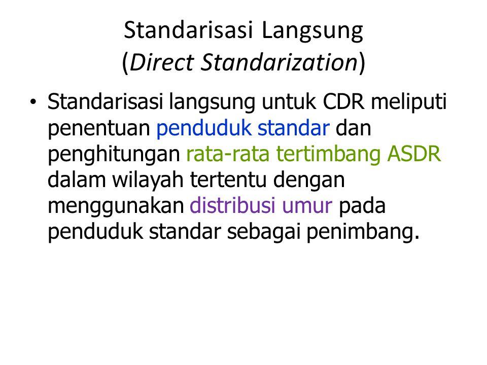 Standarisasi Langsung (Direct Standarization) Standarisasi langsung untuk CDR meliputi penentuan penduduk standar dan penghitungan rata-rata tertimban
