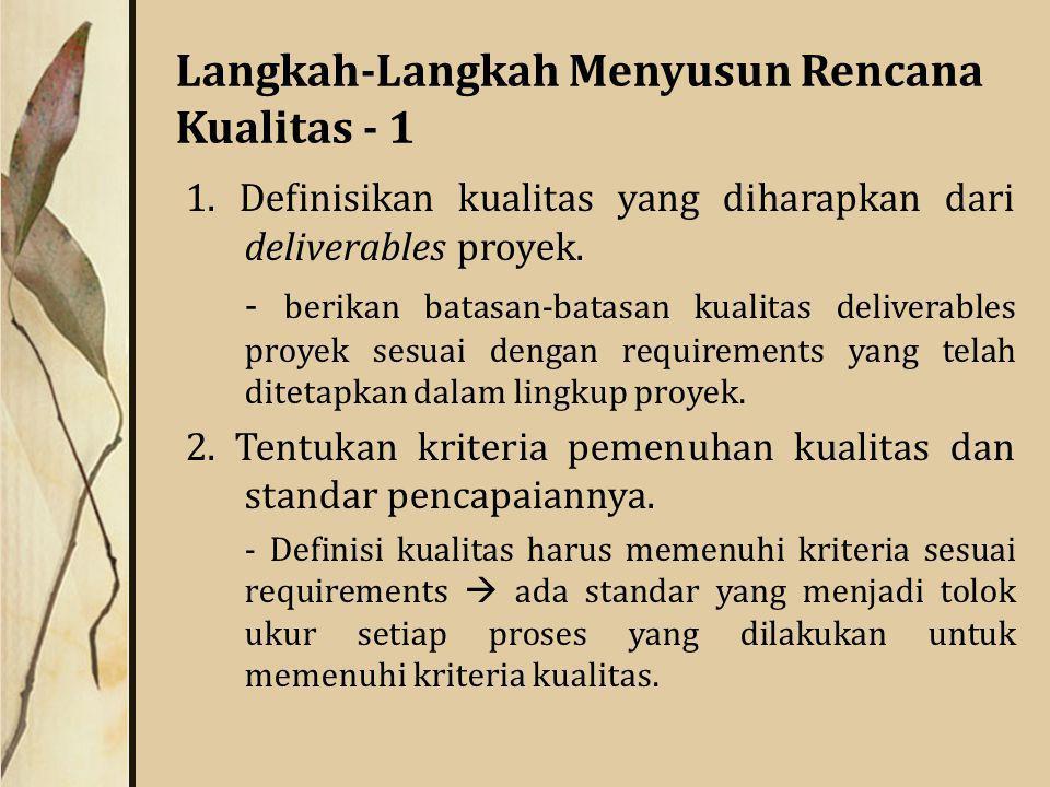 Langkah-Langkah Menyusun Rencana Kualitas - 1 1.