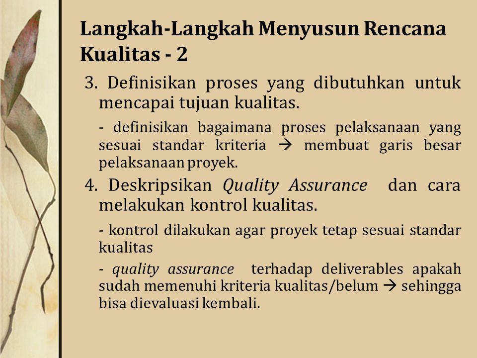 Langkah-Langkah Menyusun Rencana Kualitas - 2 3.