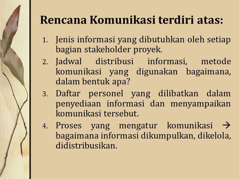 Rencana Komunikasi terdiri atas: 1.