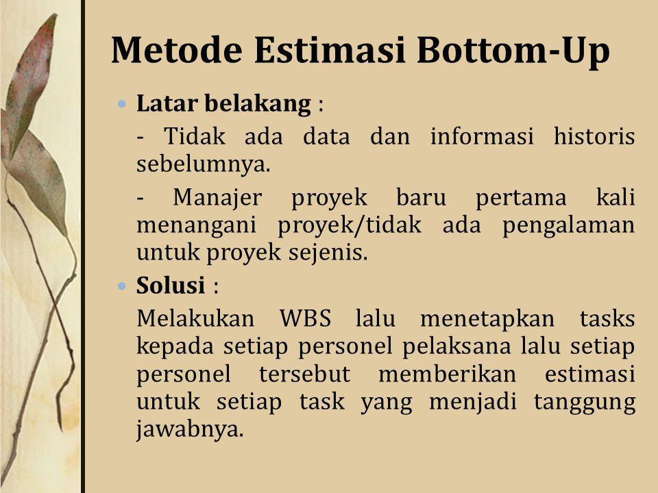 Metode Estimasi Bottom-Up Latar belakang : - Tidak ada data dan informasi historis sebelumnya.