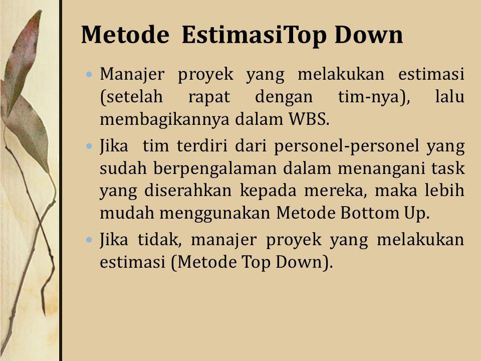 Metode EstimasiTop Down Manajer proyek yang melakukan estimasi (setelah rapat dengan tim-nya), lalu membagikannya dalam WBS.